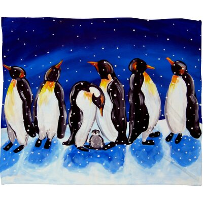Renie Britenbucher Penguin Party Plush Fleece Throw Blanket Size: Medium