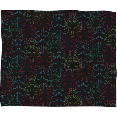 Zoe Wodarz Forest Neon Lights Plush Fleece Throw Blanket Size: Small