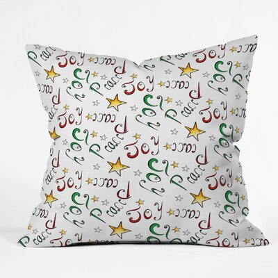 Madart Inc Peace and Joy Pattern Throw Pillow Size: Large