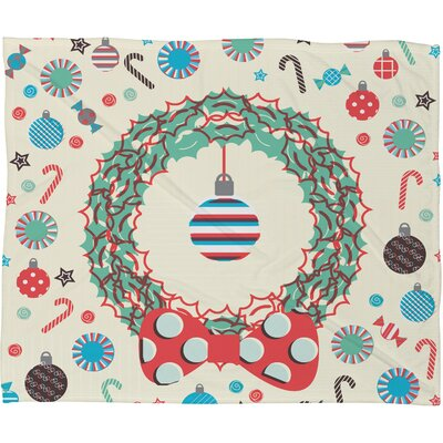 Sam Osborne Christmas Wreath Plush Fleece Throw Blanket Size: Large