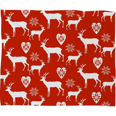 Natt Christmas Deer Plush Fleece Throw Blanket Size: Large