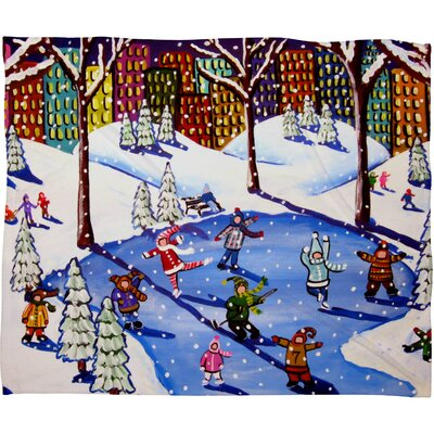 Renie Britenbucher Winter Fun In The City Plush Fleece Throw Blanket Size: Small