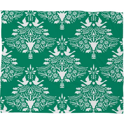 Jacqueline Maldonado Christmas Paper Cutting Plush Fleece Throw Blanket Size: Small, Color: Green