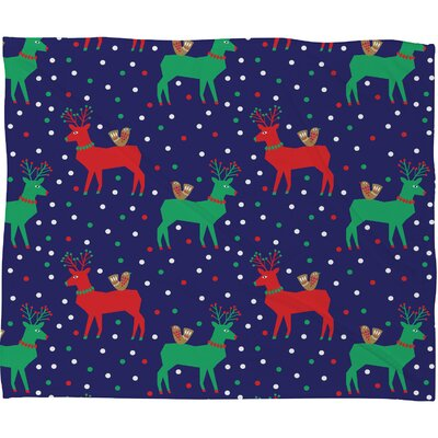 Zoe Wodarz Geo Pop Deer Blue Plush Fleece Throw Blanket Size: Small