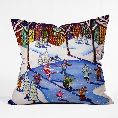 Renie Britenbucher Winter Fun In The City Throw Pillow Size: Small