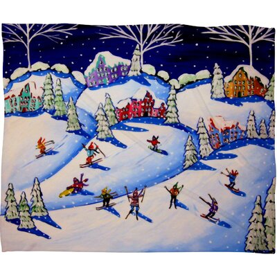 Renie Britenbucher Winter Skiing Fun Plush Fleece Throw Blanket Size: Large