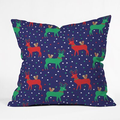 Zoe Wodarz Geo Pop Deer Blue Throw Pillow Size: Extra Large