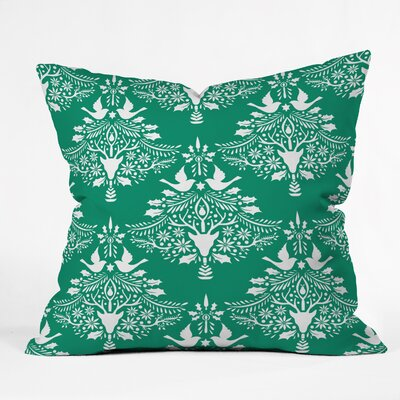 Jacqueline Maldonado Christmas Paper Cutting Throw Pillow Size: Small, Color: Green
