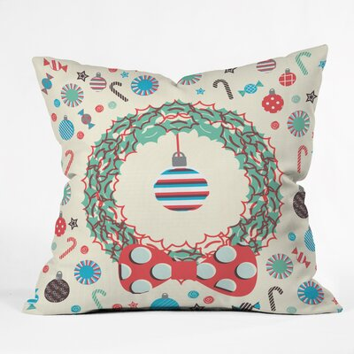 Sam Osborne Christmas Wreath Throw Pillow Size: Small