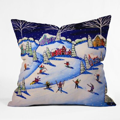 Renie Brirwnbucher Winter Skiing Fun Throw Pillow Size: Large