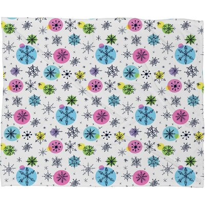 Sam Osborne Snowflake Doodles Plush Fleece Throw Blanket Size: Medium