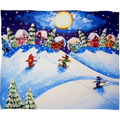 Renie Britenbucher Skiers Plush Fleece Throw Blanket Size: Medium