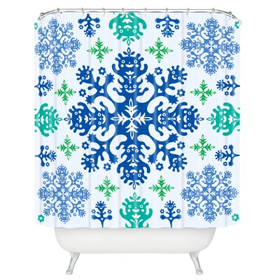Andi Bird Monstrous Shower Curtain Color: Blue