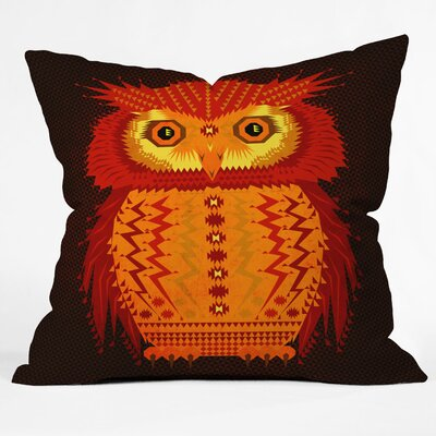 Chobopop Geometric Owl Indoor Throw Pillow Size: Medium