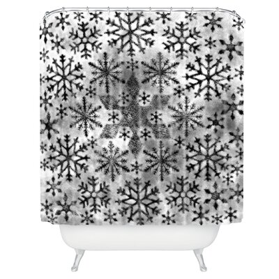 Ruby Door Snow Leopard Snowflake Shower Curtain