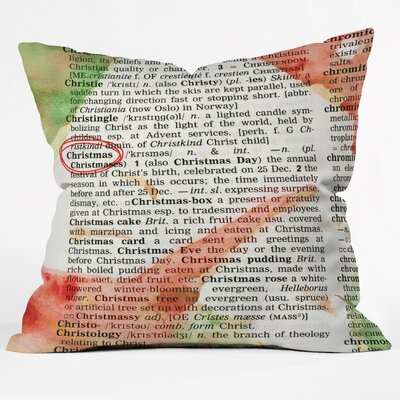 Susanne Kasielke Christmas Dictionary Art Indoor Throw Pillow Size: Large