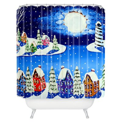 Renie Britenbucher Snowy Shoreline Shower Curtain