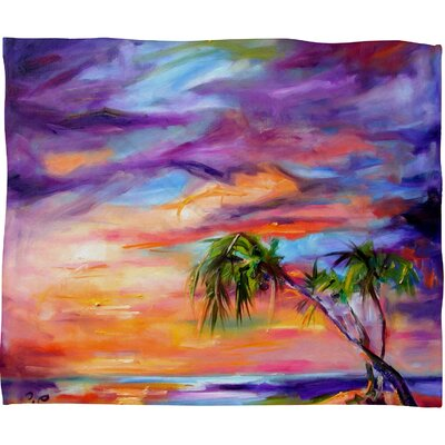 Ginette Fine Art Florida Palms Beach Throw Blanket Size: Small