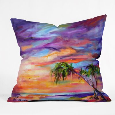 Ginette Fine Art Florida Palms Beach Indoor/Outdoor Throw Pillow Size: Large