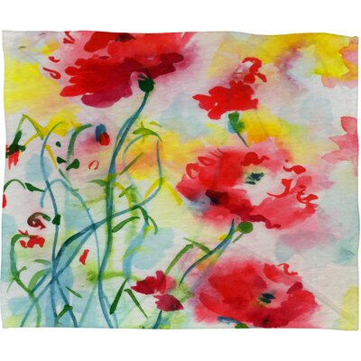Ginette Fine Art If Poppies Could Only Speak Throw Blanket Size: Large