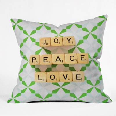 Happee Monkee Joy Peace Love Throw Pillow Size: Small