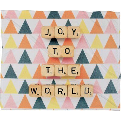 Happee Monkee Joy To The World Plush Fleece Throw Blanket Size: Large