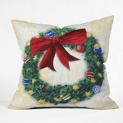 Madart Inc. Pine Wreath Throw Pillow Size: Large