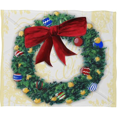 Madart Inc. Pine Wreath Plush Fleece Throw Blanket Size: Medium