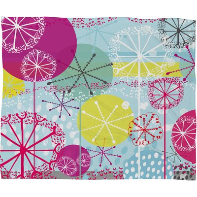 Rachael Taylor Snowflake Stems Plush Fleece Throw Blanket Size: Large