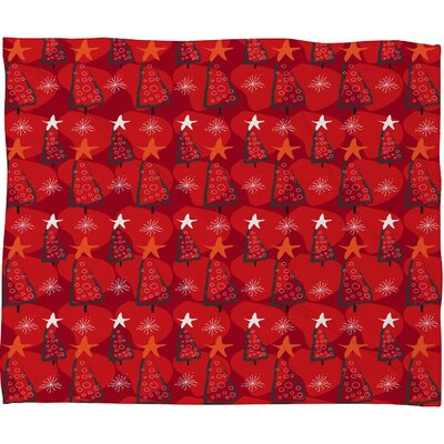Julia Da Rocha Christmastrees Plush Fleece Throw Blanket Size: Large