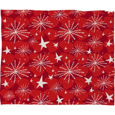 Julia Da Rocha Snow and Stars Plush Fleece Throw Blanket Size: Large