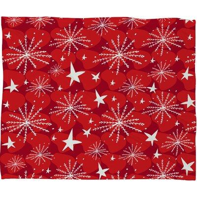 Julia Da Rocha Snow and Stars Plush Fleece Throw Blanket Size: Small