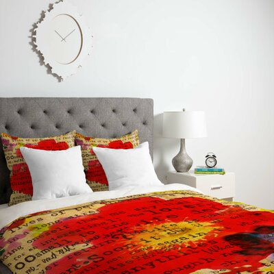 Irena Orlov Poppy Poetry 2 Duvet Cover Size: King, Fabric: Lightweight