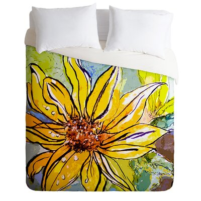 Ginette Fine Art Lightweight Sunflower Ribbon Duvet Cover Size: Queen