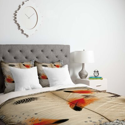 Feather Dance Duvet Cover Size: Queen, Fabric: Lightweight