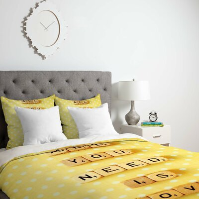 Happee Monkee All You Need Is Love 1 Duvet Cover Size: Twin, Fabric: Lightweight