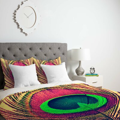 Shannon Clark Peacock 2 Duvet Cover Size: Queen, Fabric: Lightweight