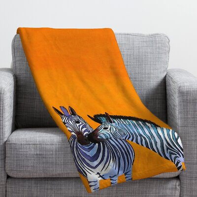 Clara Nilles Candy Stripe Zebras Throw Blanket Size: 80 H x 60 W
