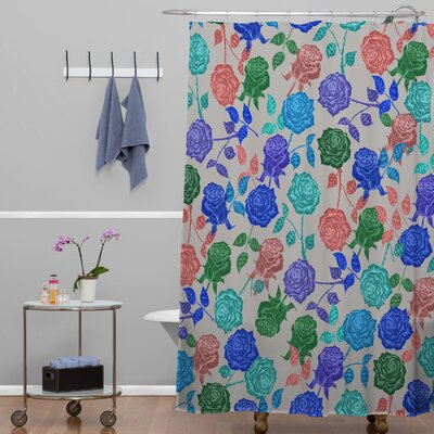 Bianca Green Roses Shower Curtain Color: Blue Roses
