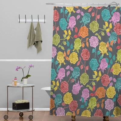 Bianca Green Roses Shower Curtain Color: Red Roses