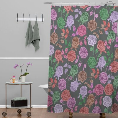 Bianca Green Roses Shower Curtain Color: Vintage Roses