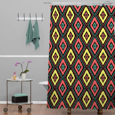 Jacqueline Maldonado Zig Zag Ikat Shower Curtain Color: Black Zig Zag Ikat