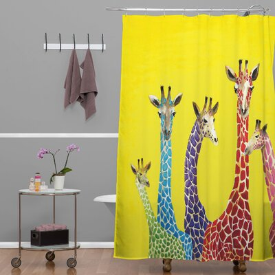 Clara Nilles Jellybean Giraffes Extra Long Shower Curtain