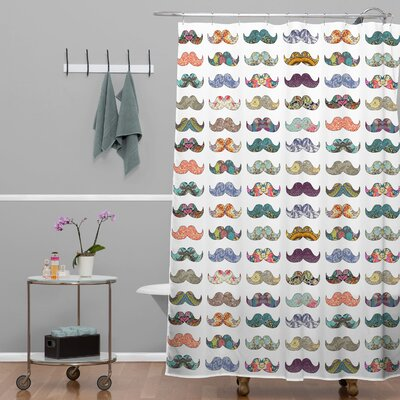 Bianca Green Mustache Mania Extra Long Shower Curtain