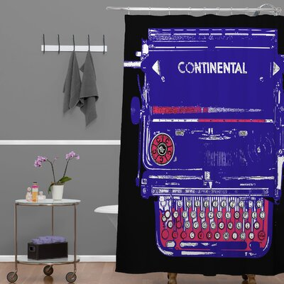 Romi Vega Continental Typewriter Shower Curtain