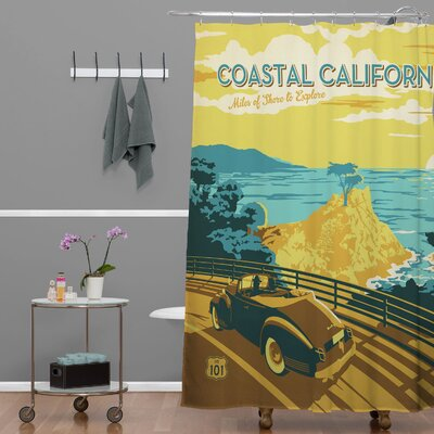 Anderson Design Group Coastal California Extra Long Shower Curtain