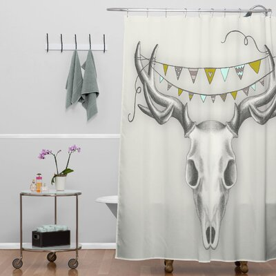 Wesley Bird Woven Polyester Skull Extra Long Shower Curtain