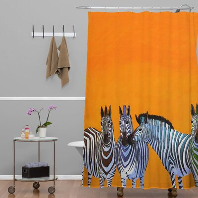 Clara Nilles Candy Stripe Zebras Extra Long Shower Curtain