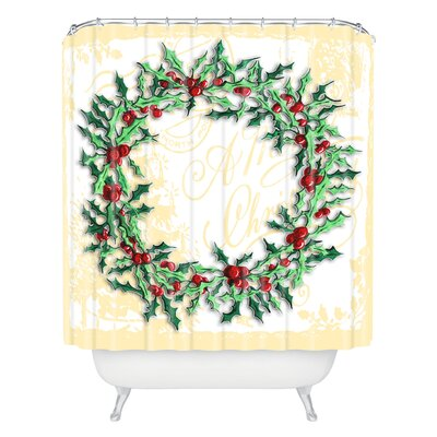 Madart Inc Holly Wreath Shower Curtain