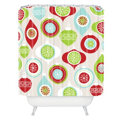 Andrea Victoria Jolly Ornaments Shower Curtain